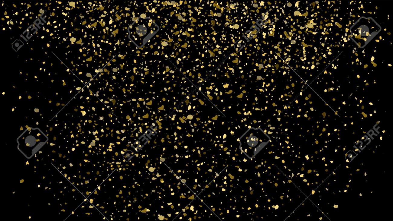Gold glitter texture on black background. Golden sparkle confetti vector shine luxury gold glitter - 168995411