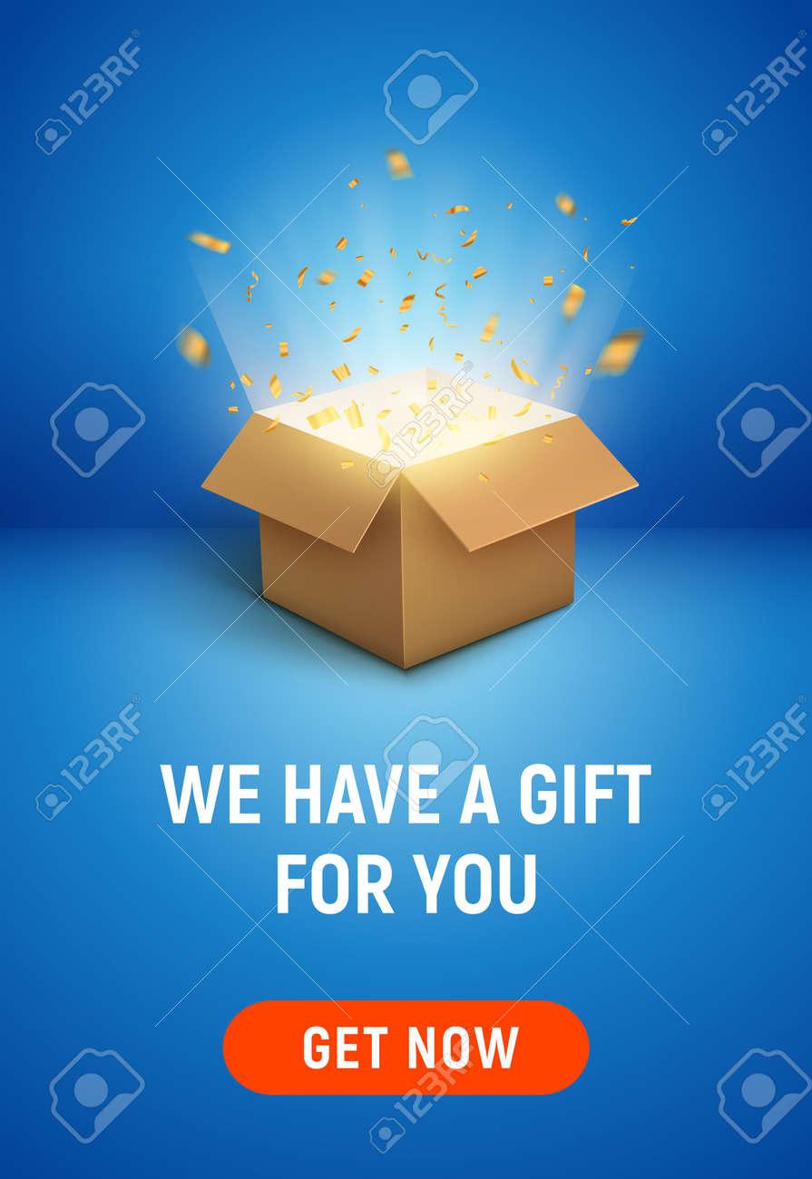 Gift box open explosive present vector illustration. Open gift box banner background - 168995414