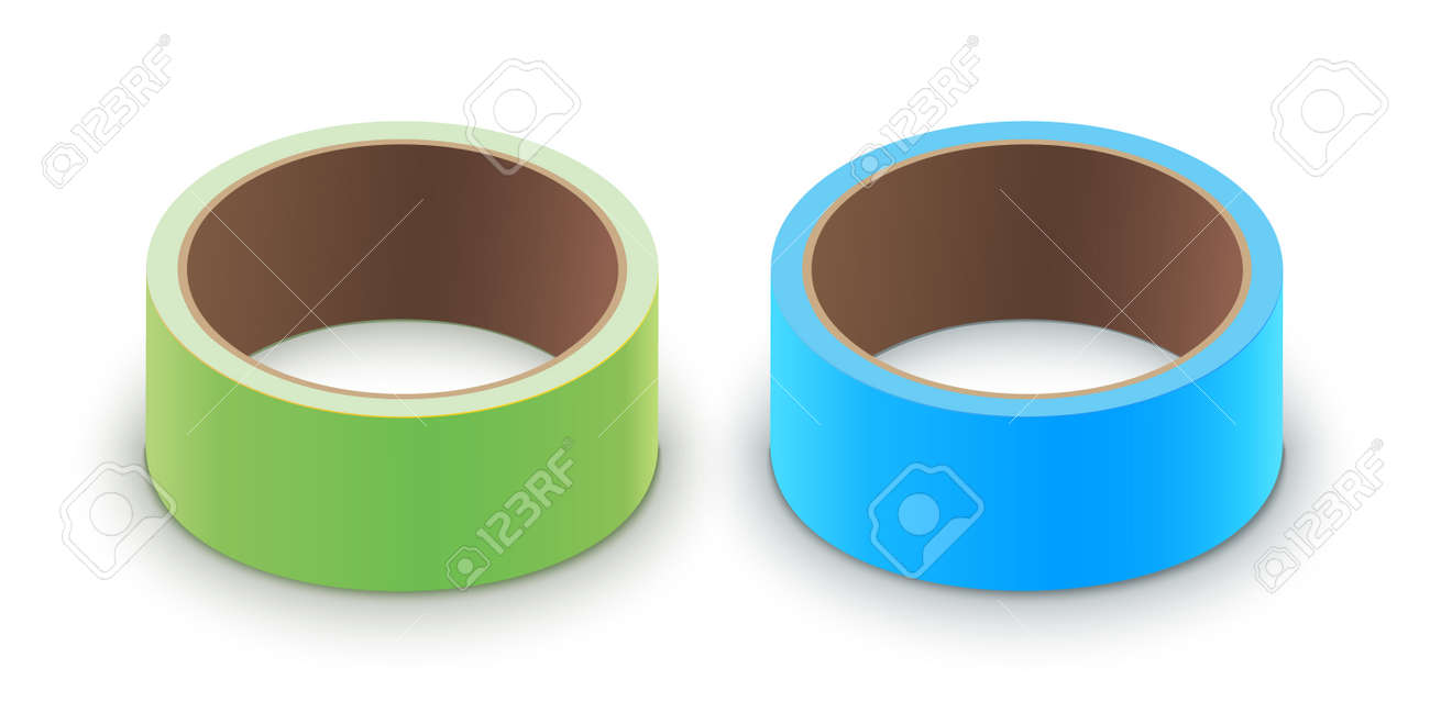 Scotch yellow roll adhesive tape mockup. 3d packing vector scotch icon - 168995432