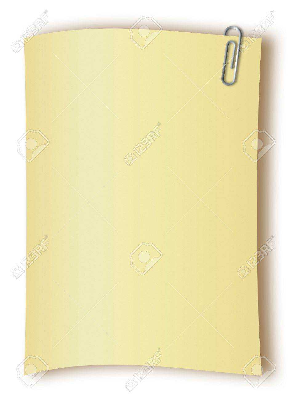 Blank page with a paper clip over white background Stock Photo - 2554571
