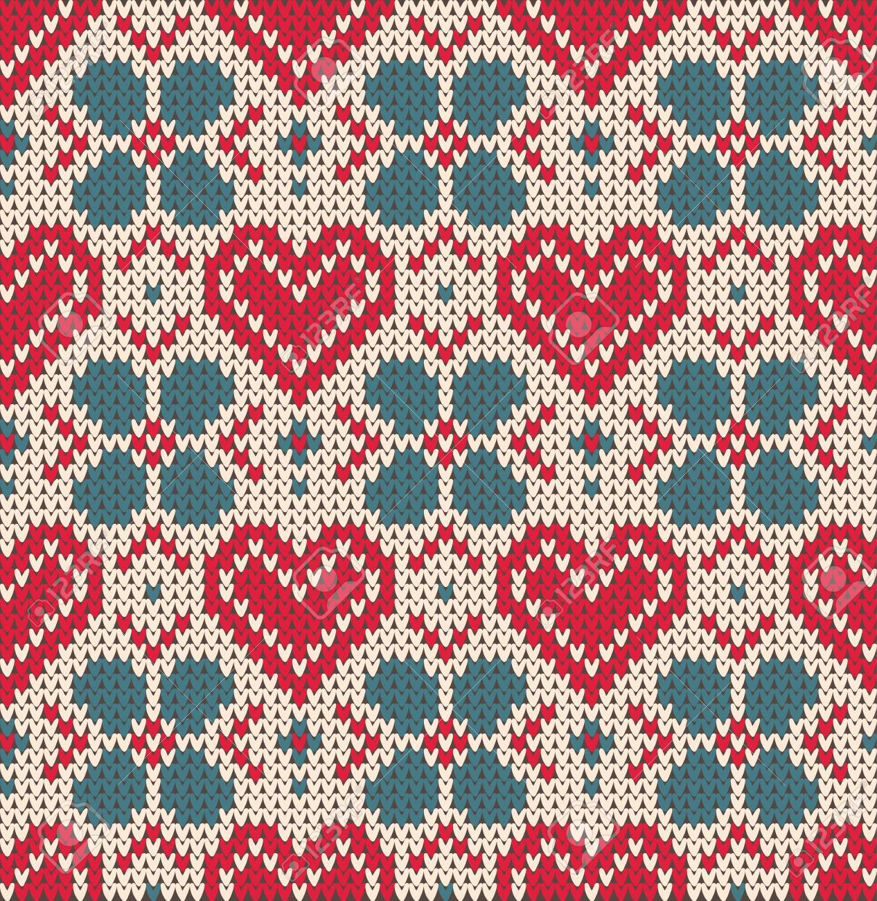 ddde4f05946362 Wool knitted texture. Vector Illustration. Seamless pattern on the theme of  Valentine s Day with an image of the Norwegian patterns and