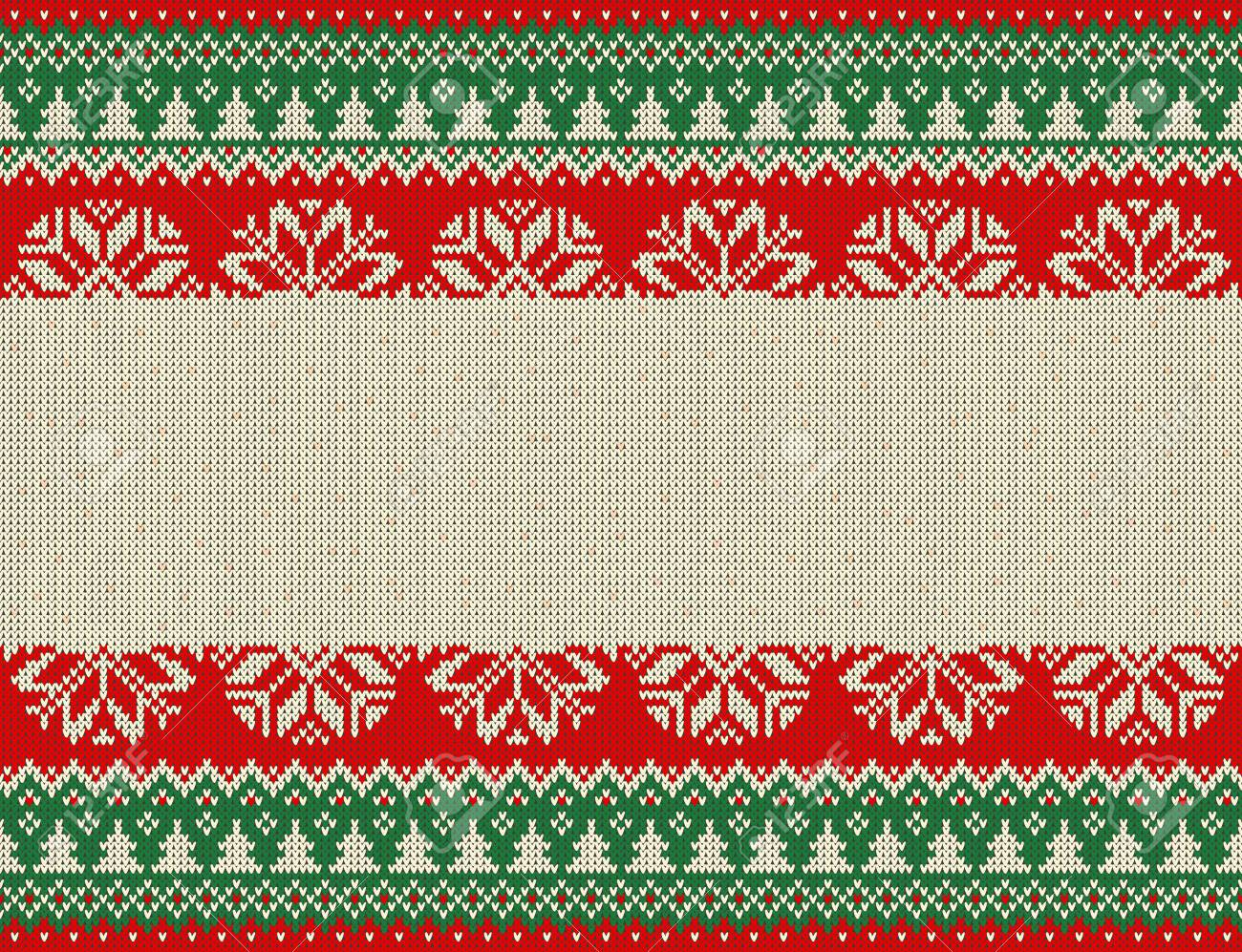 Merry Christmas And New Year Seamless Knitted Pattern With Christmas ...