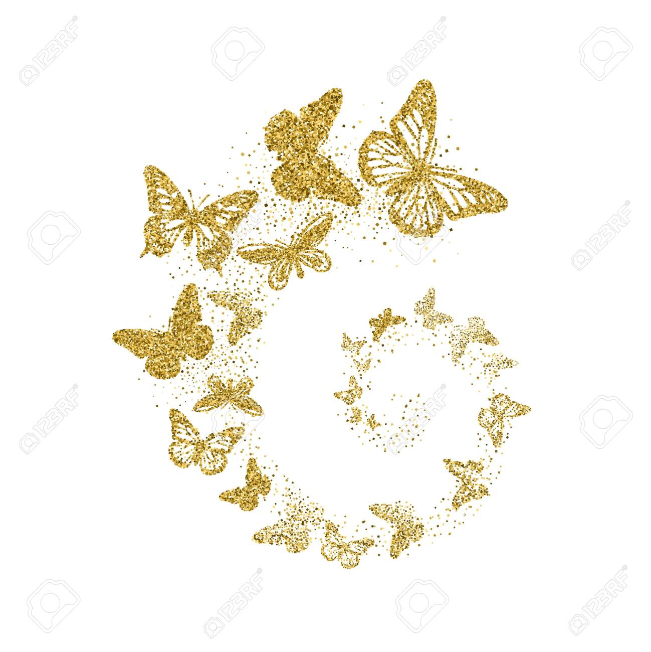 Golden glitter butterflies fly in spiral on white background. Beautiful gold silhouettes with different shapes wings. For invitation, fashion, decorative abstract design elements. Vector illustration. - 124521020