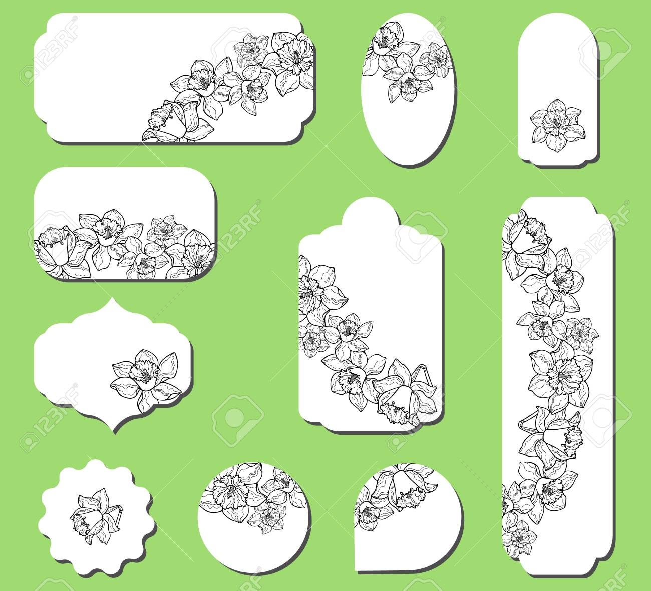Set of labels with narcissus flowers  Collection with floral