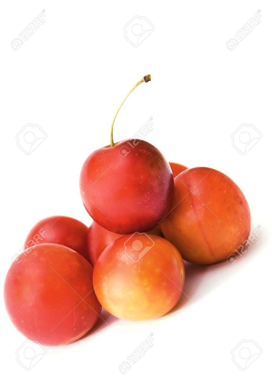 small plum  cherry red delicious nga stark white background is blurred como juicy fresh healthy food tasty and a little more Stock Photo - 5414823