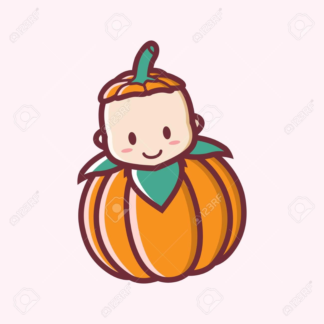 Mignon Souriant Halloween Bébé Citrouille Dessin Animé Vector Illustration Logo
