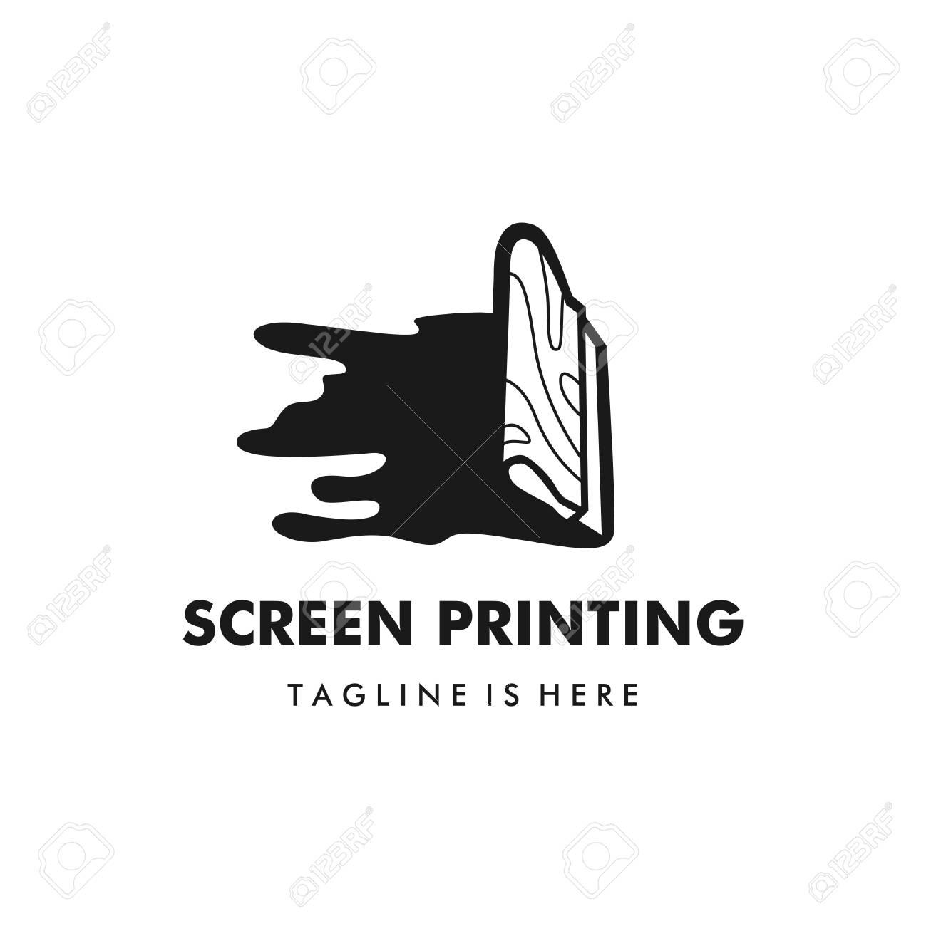 screen printing silk screenprinting logo vector illustration - 107800723