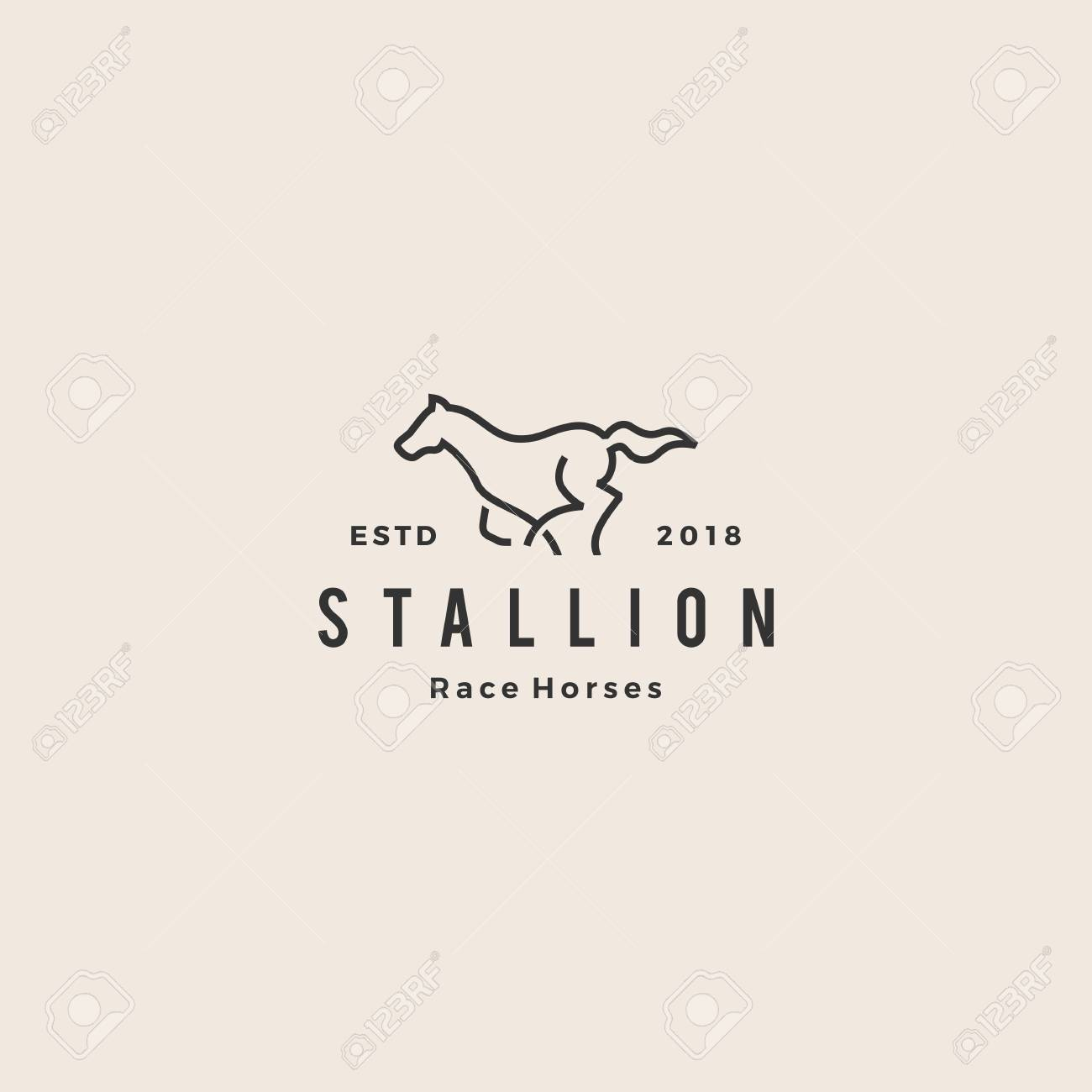 Stallion Horse Running Race Logo Hipster Vintage Line Outline Royalty Free Cliparts Vectors And Stock Illustration Image 107801530