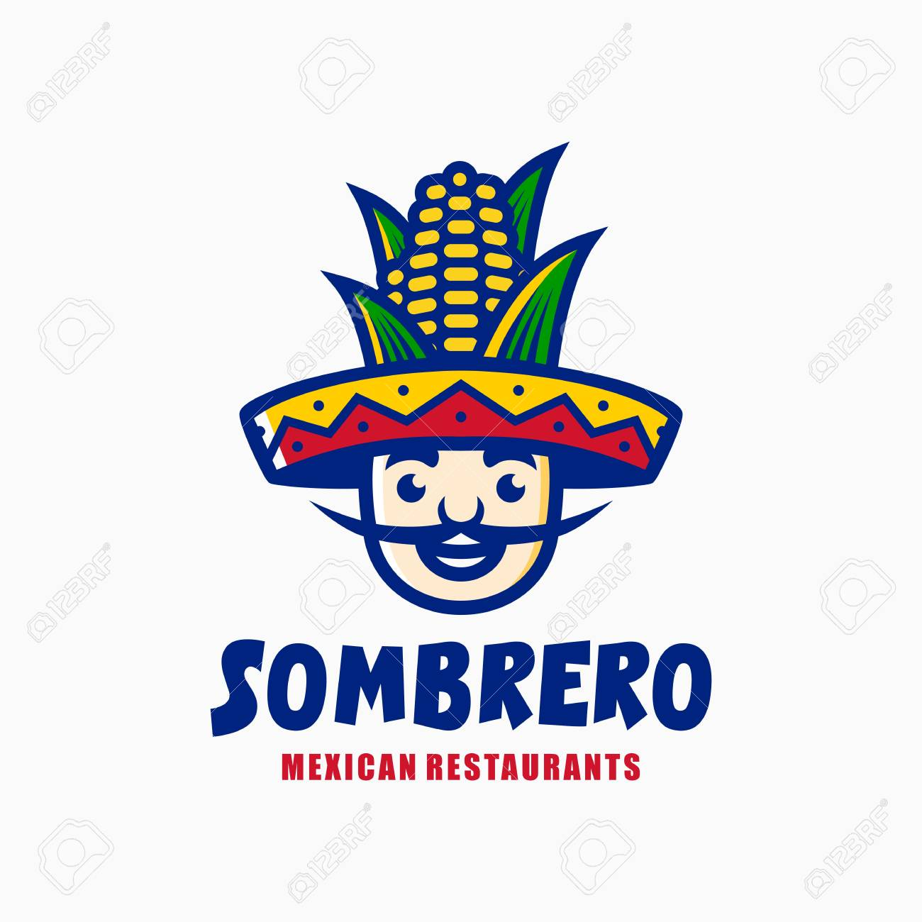 sombrero hat corn mexican restaurant logo mascot character cartoon  illustration Stock Vector - 107801147 7530eb5a3ad