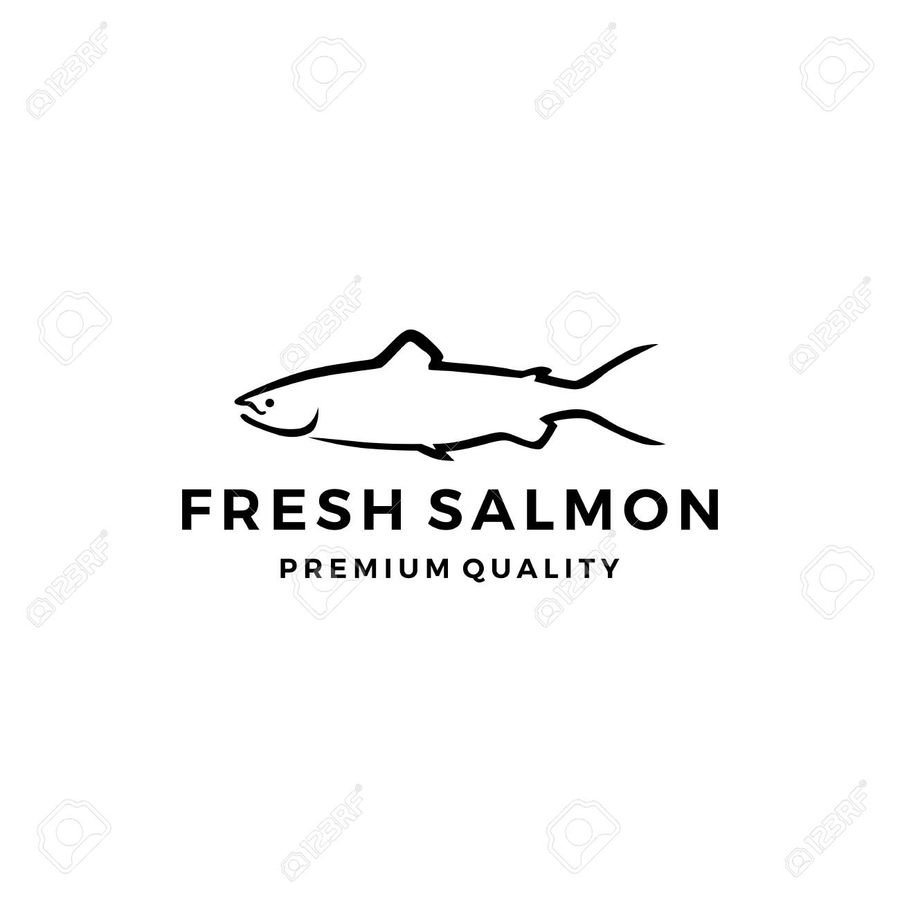 Salmon fish logo seafood label badge vector sticker download stock vector 108772932