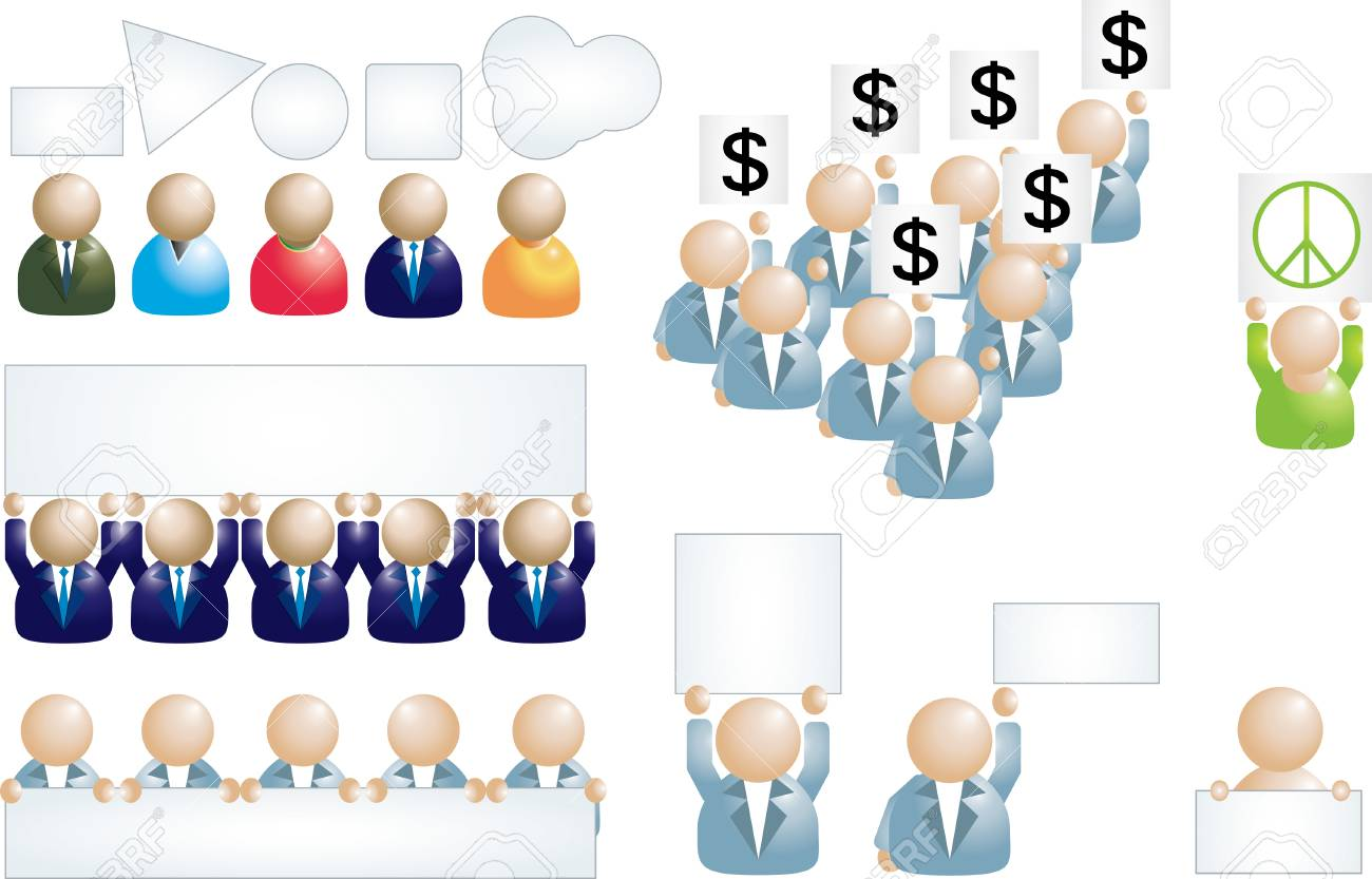 Set of business people icons with banner Stock Vector - 6187793