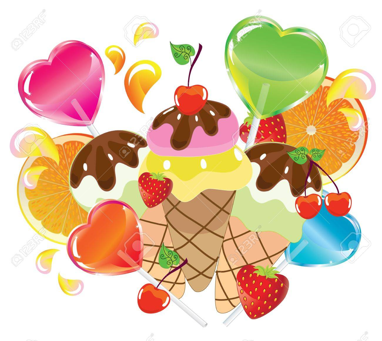 Background with sweets, fruit, berries and ice cream over white Stock Vector - 11830960