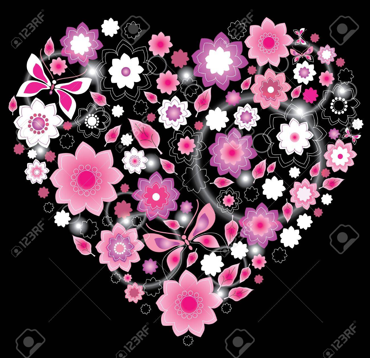 Floral bright pink Heart, Valentine background Stock Vector - 11830981