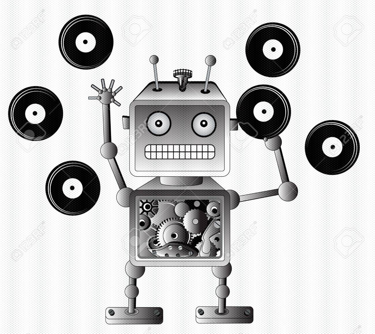 Black robot toy with vinyl records, music lover Stock Vector - 11830982