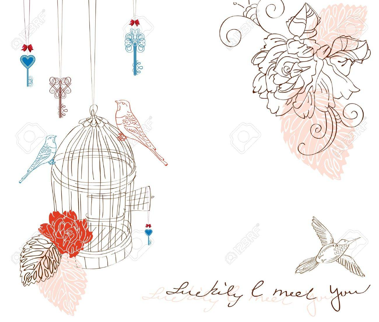 Valentine hand drawing background with birds and flowers Stock Vector - 11926086