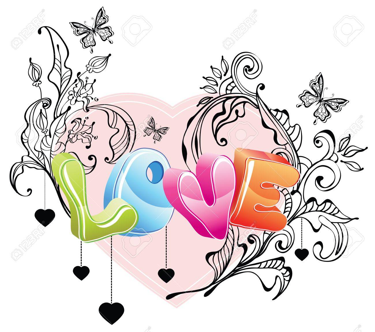 Valentine background with floral ornament and 3d love over white Stock Vector - 11926132