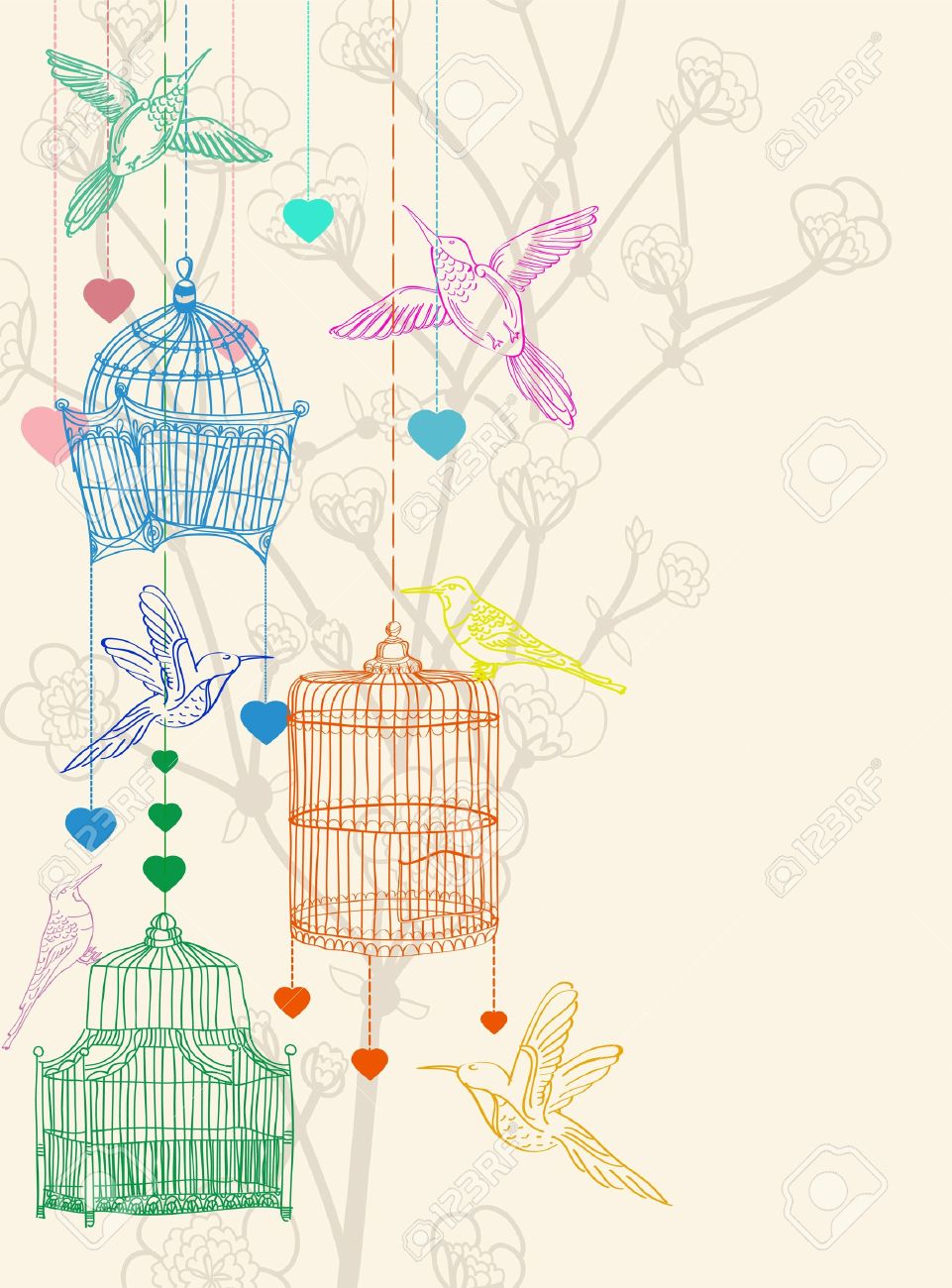 Valentine hand drawing background with birds, flowers and cage, beautiful illustration Stock Vector - 11926134