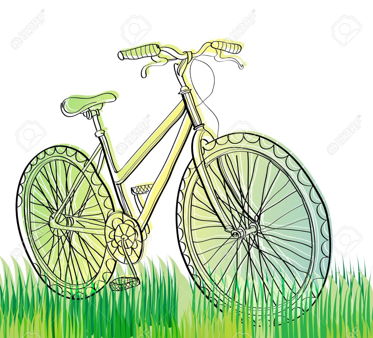 bicycle at field with green grass, illustration Stock Vector - 11944571