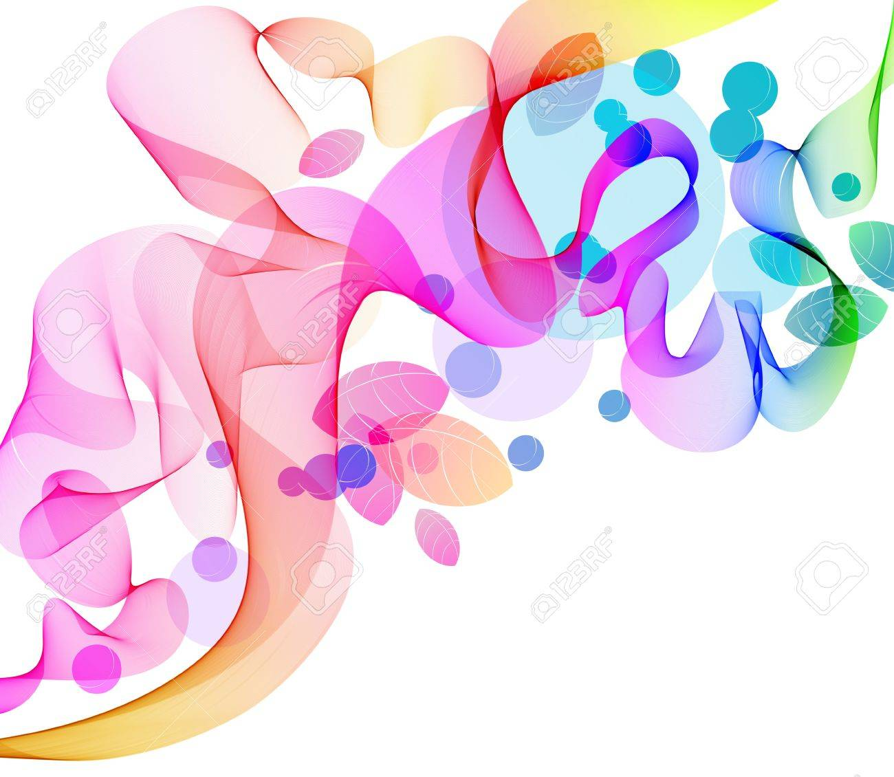 Abstract color background with wave and leaves, illustration Stock Vector - 12024199