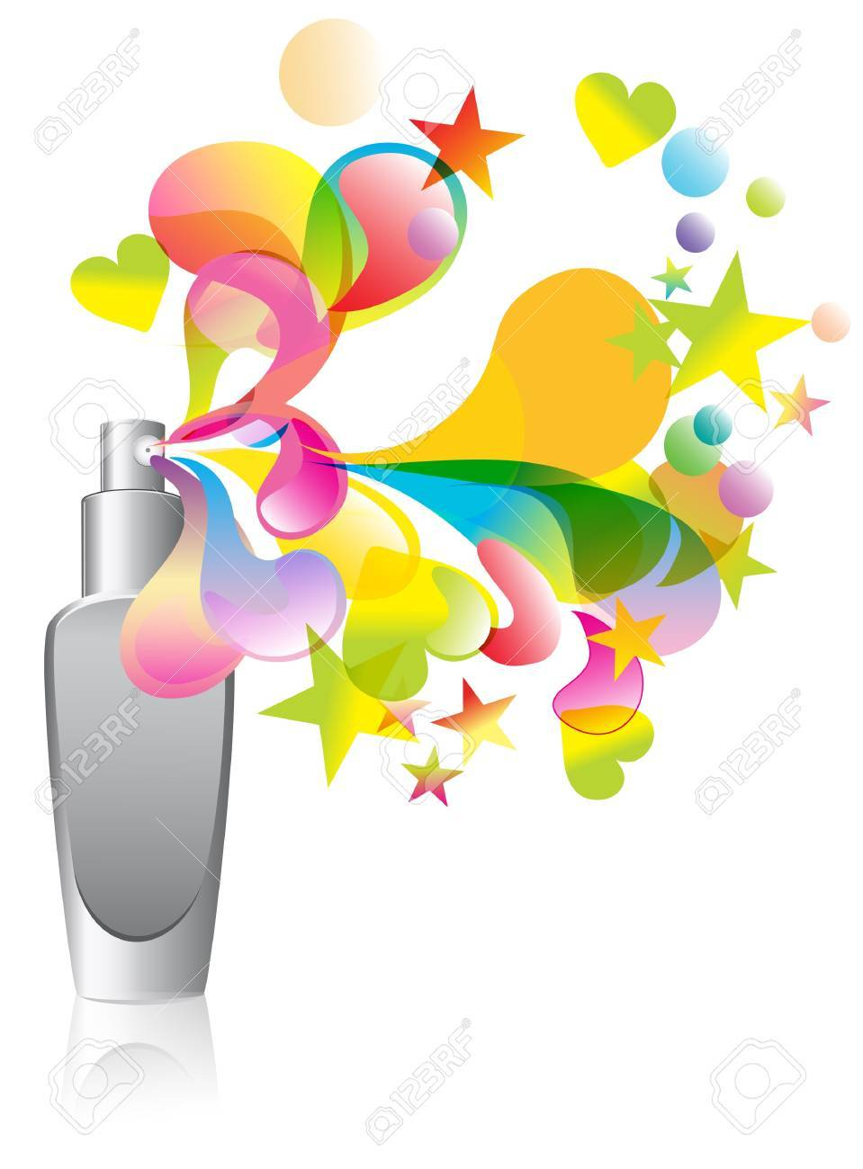 Background with cosmetic bottle splash over white Stock Vector - 12008636