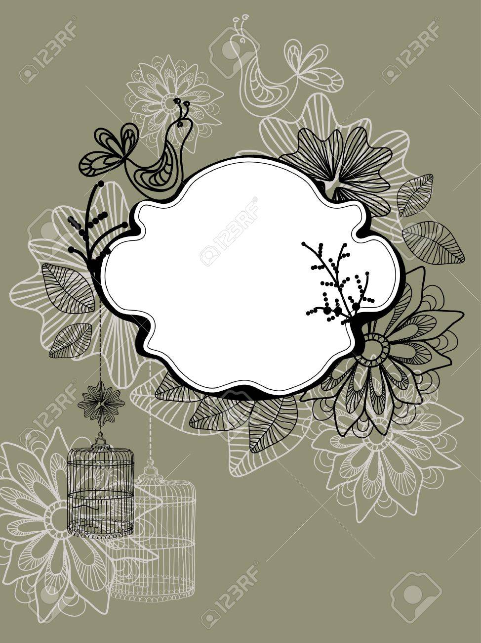 Beautiful background with cage and flowers, illustration Stock Vector - 12024220