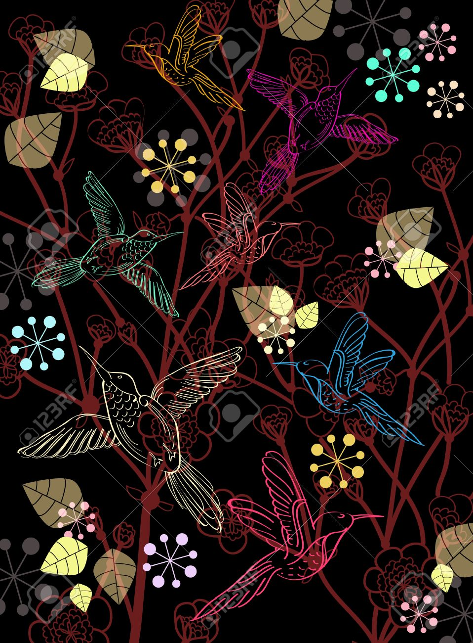 Beautiful Dark Floral Background With Birds Illustration Royalty