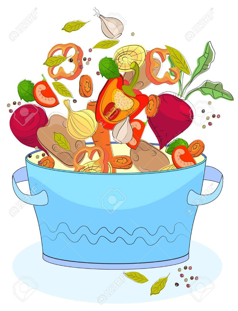 Blue pan with different vegetables, illustration Stock Vector - 12437398