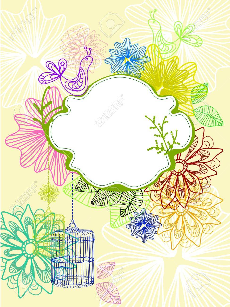 Beautiful background with cage and flowers, bright illustration Stock Vector - 12437425