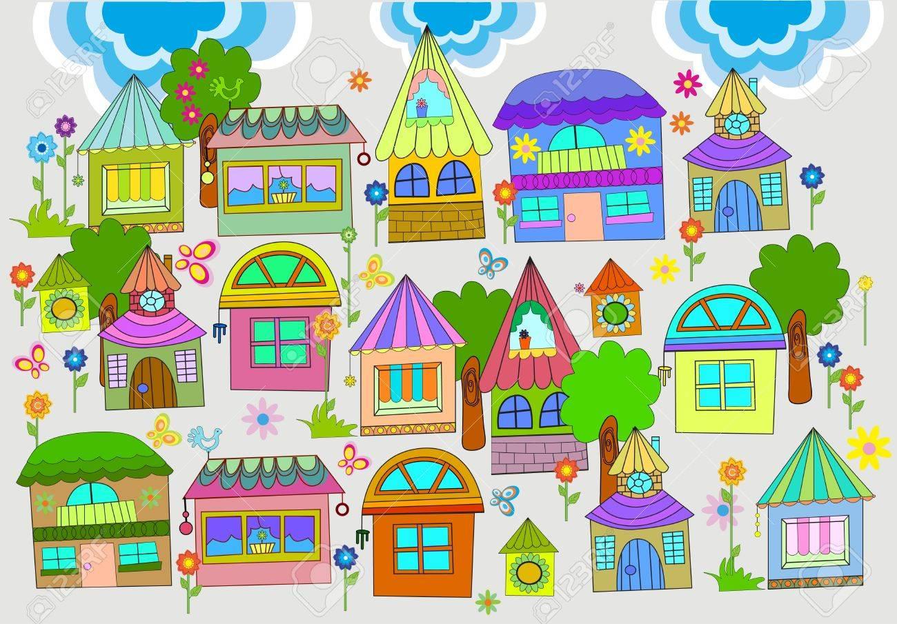 カラフルな家イラストの美しい背景のイラスト素材ベクタ Image