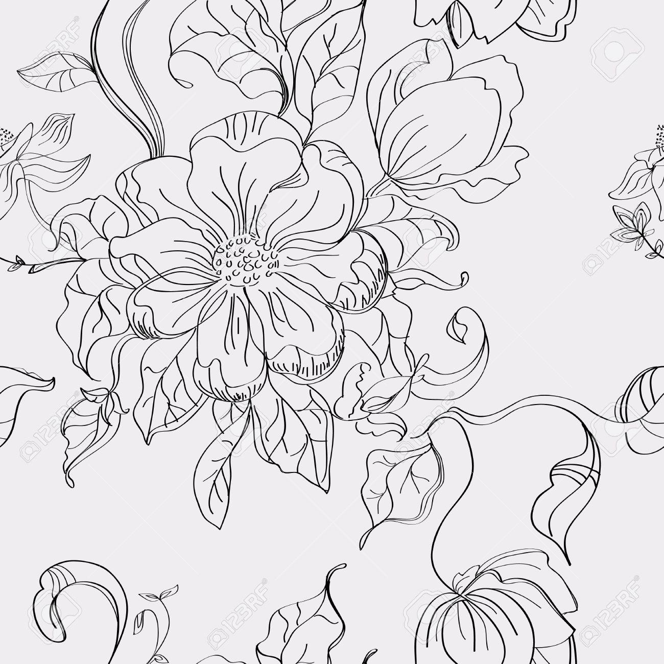 シームレスな花柄手描きのイラストのイラスト素材ベクタ Image