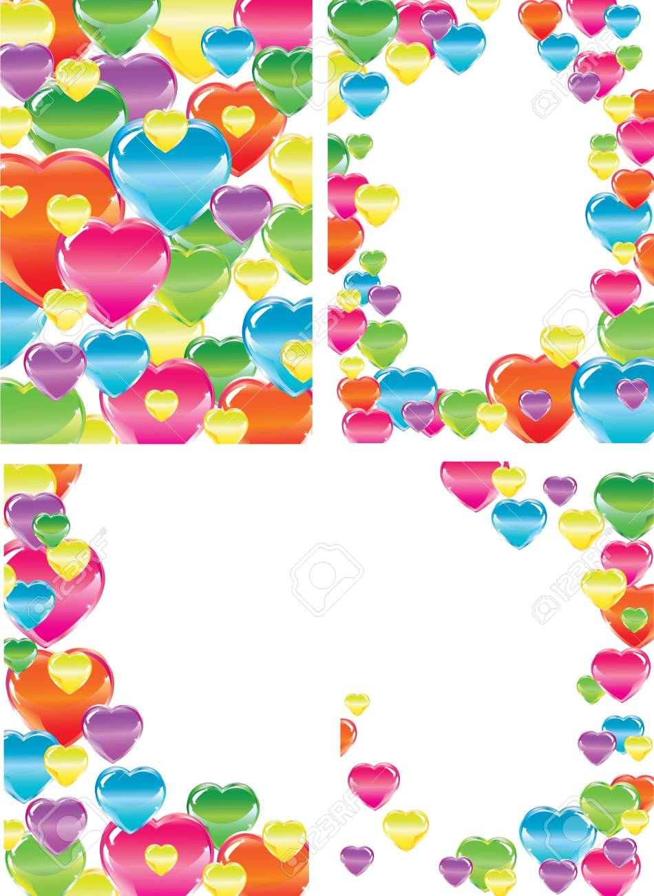 Set of four beautiful backgrounds with hearts, illustration Stock Vector - 12437499