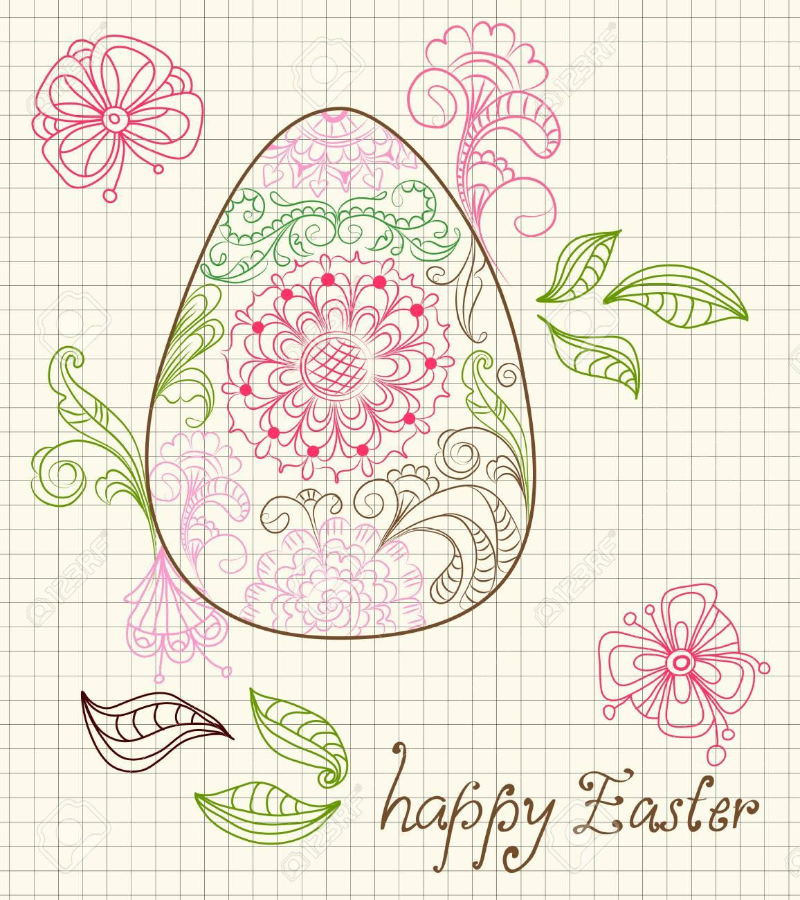 イースター卵と花飾りイラスト カードのイラスト素材ベクタ Image