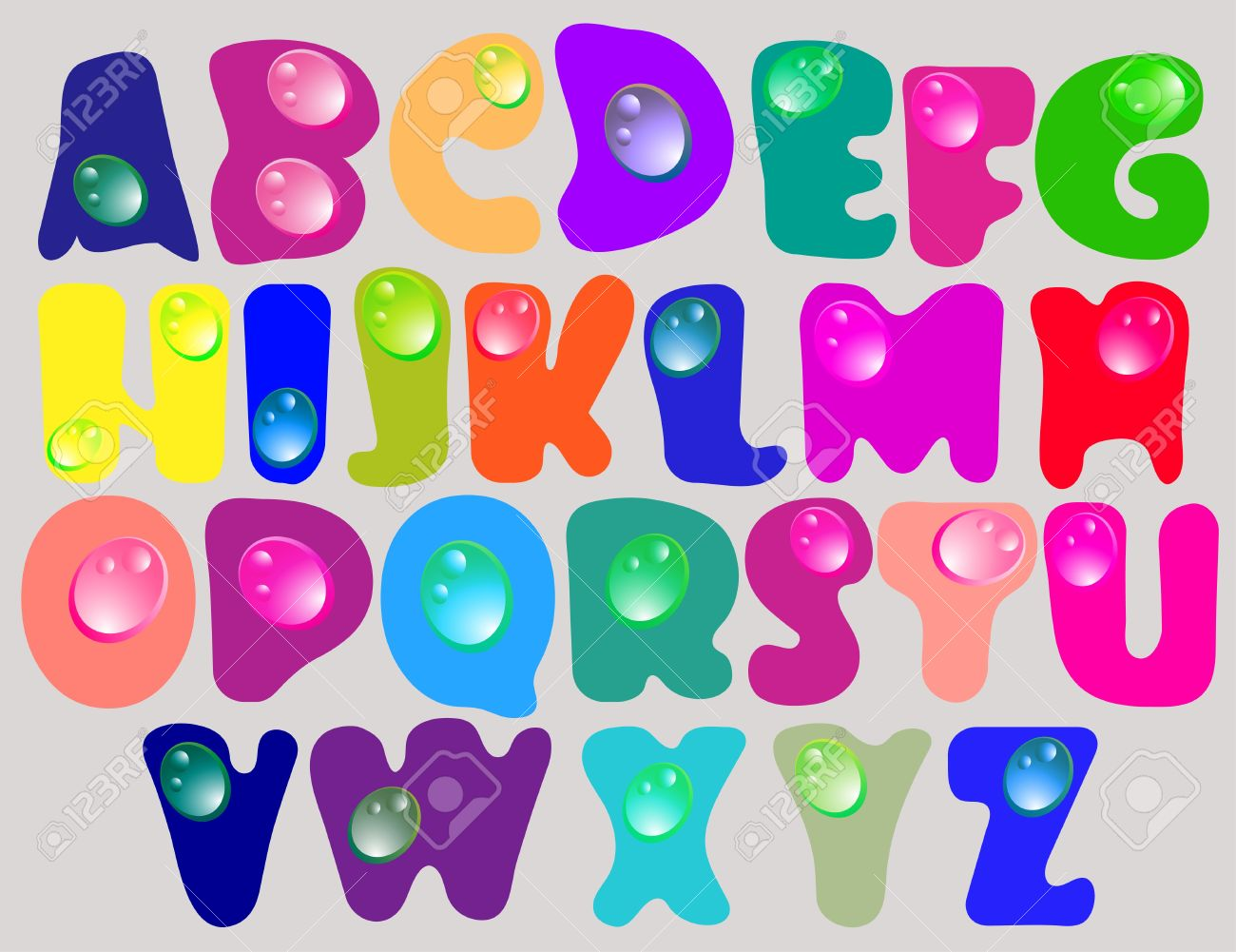 abstract abccolor alphabet with color drops beautiful illustration stock vector 12437538