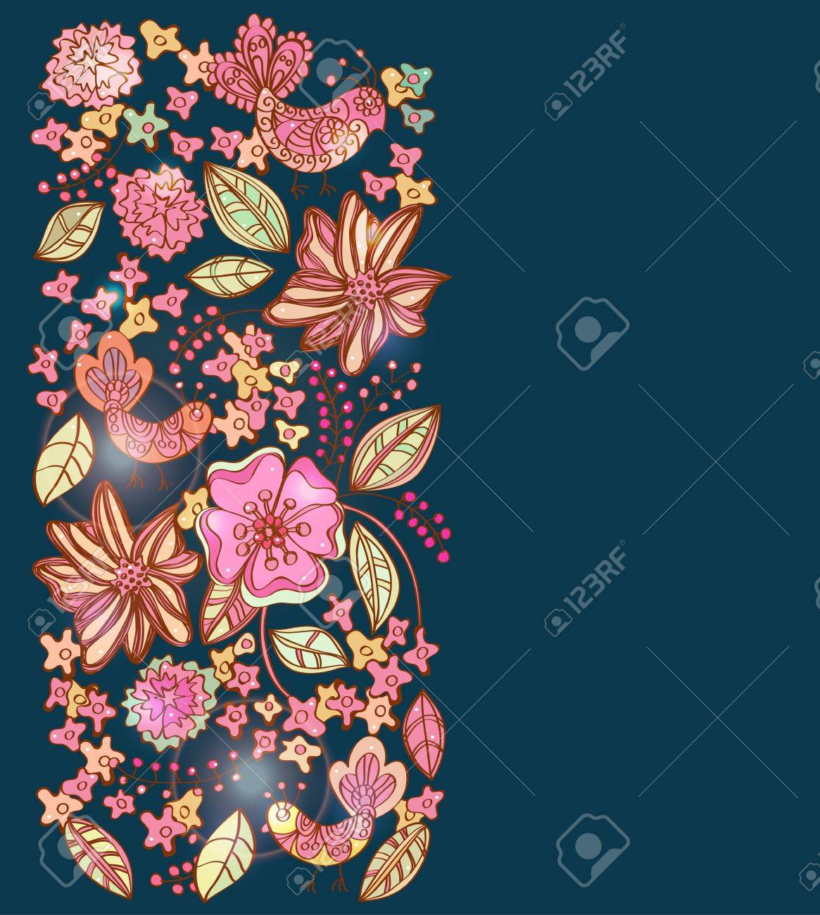 Beautiful vertical colorful floral background with birds, illustration Stock Vector - 12496197