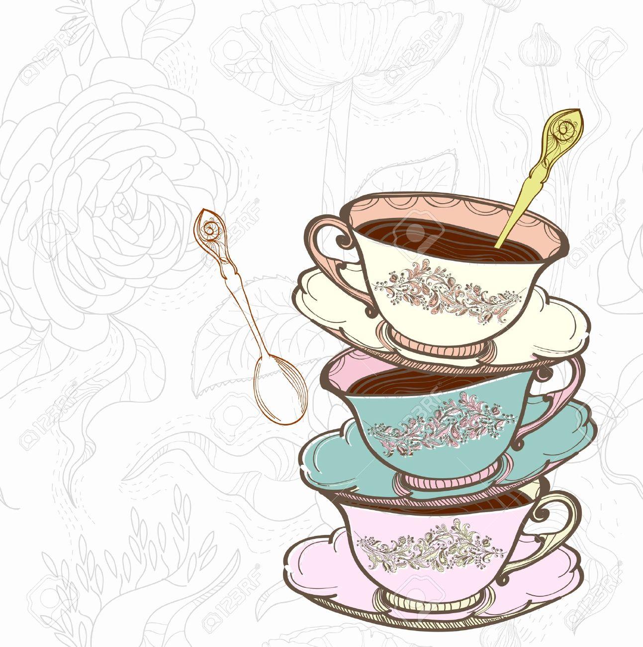Elegant tea party invitation template with teacups cartoon vector - Tea Cup Tea Cup Background With Spoon Illustration