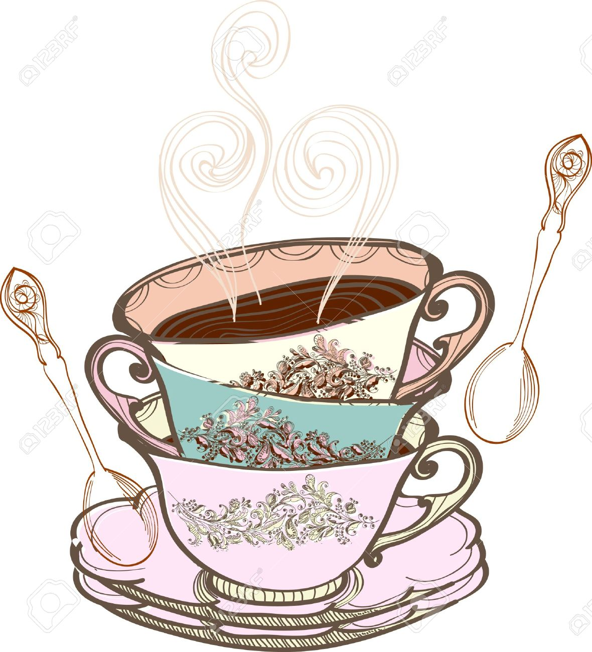 Elegant tea party invitation template with teacups cartoon vector - Afternoon Tea Party Tea Cup Background With Spoon Illustration