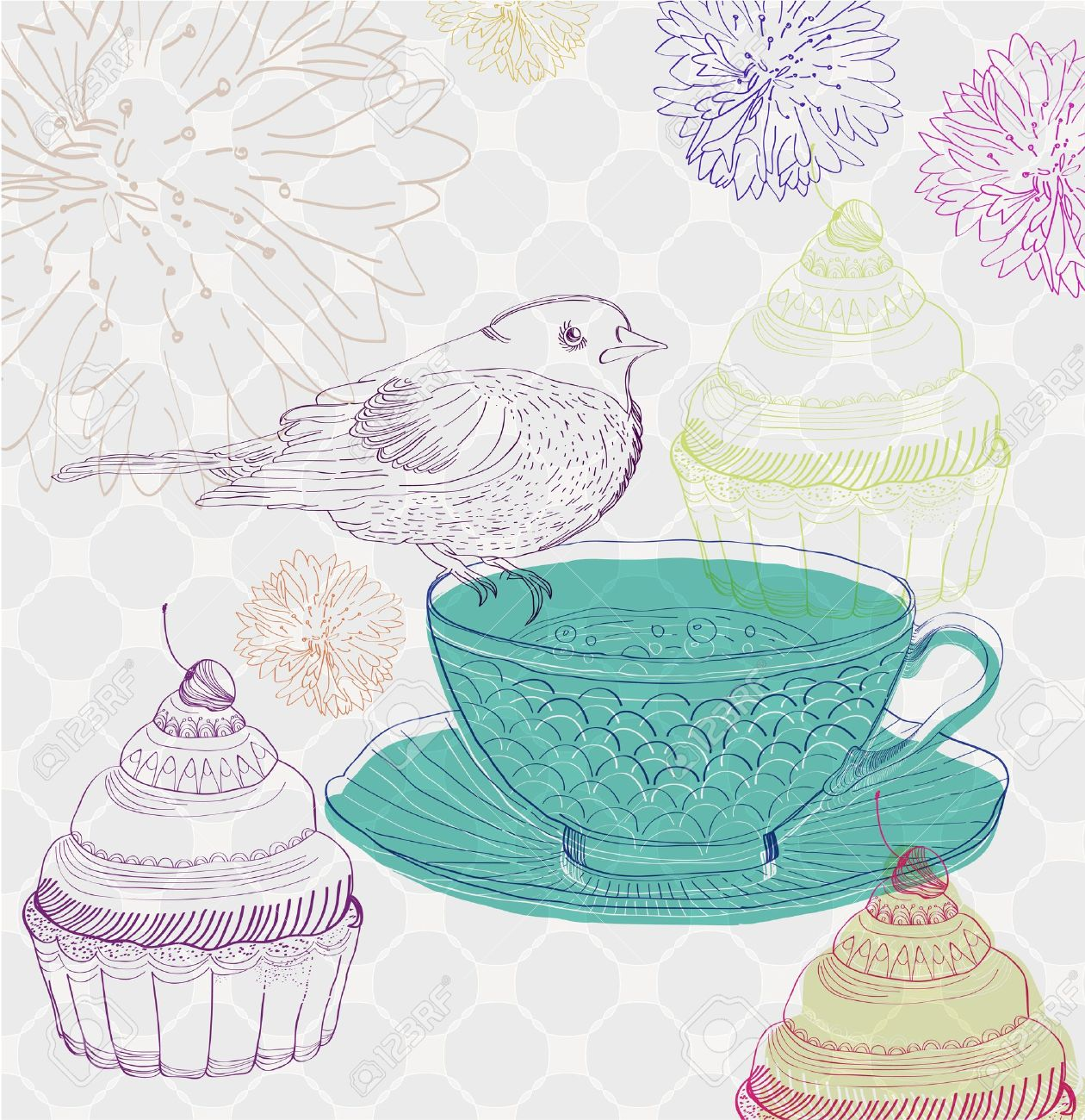 tea time background with cupcakes and bird, beautiful illustration Stock Vector - 13503562