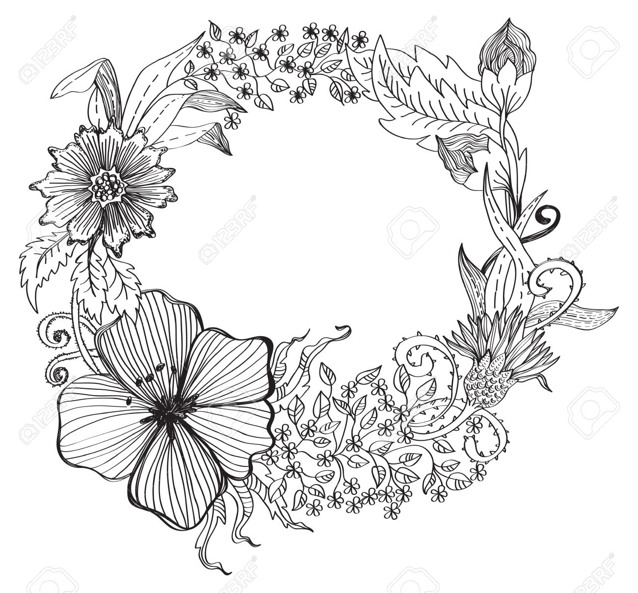 Romantic flower background for design, hand,drawing illustration