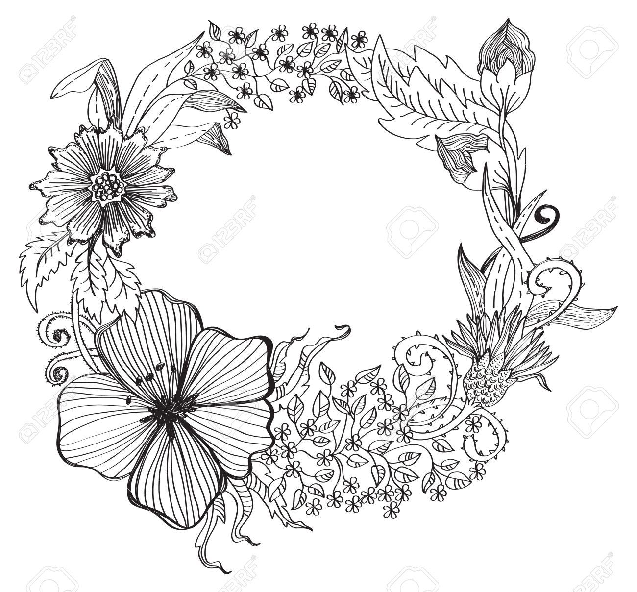 Romantic Flower Background For Design Hand Drawing Illustration