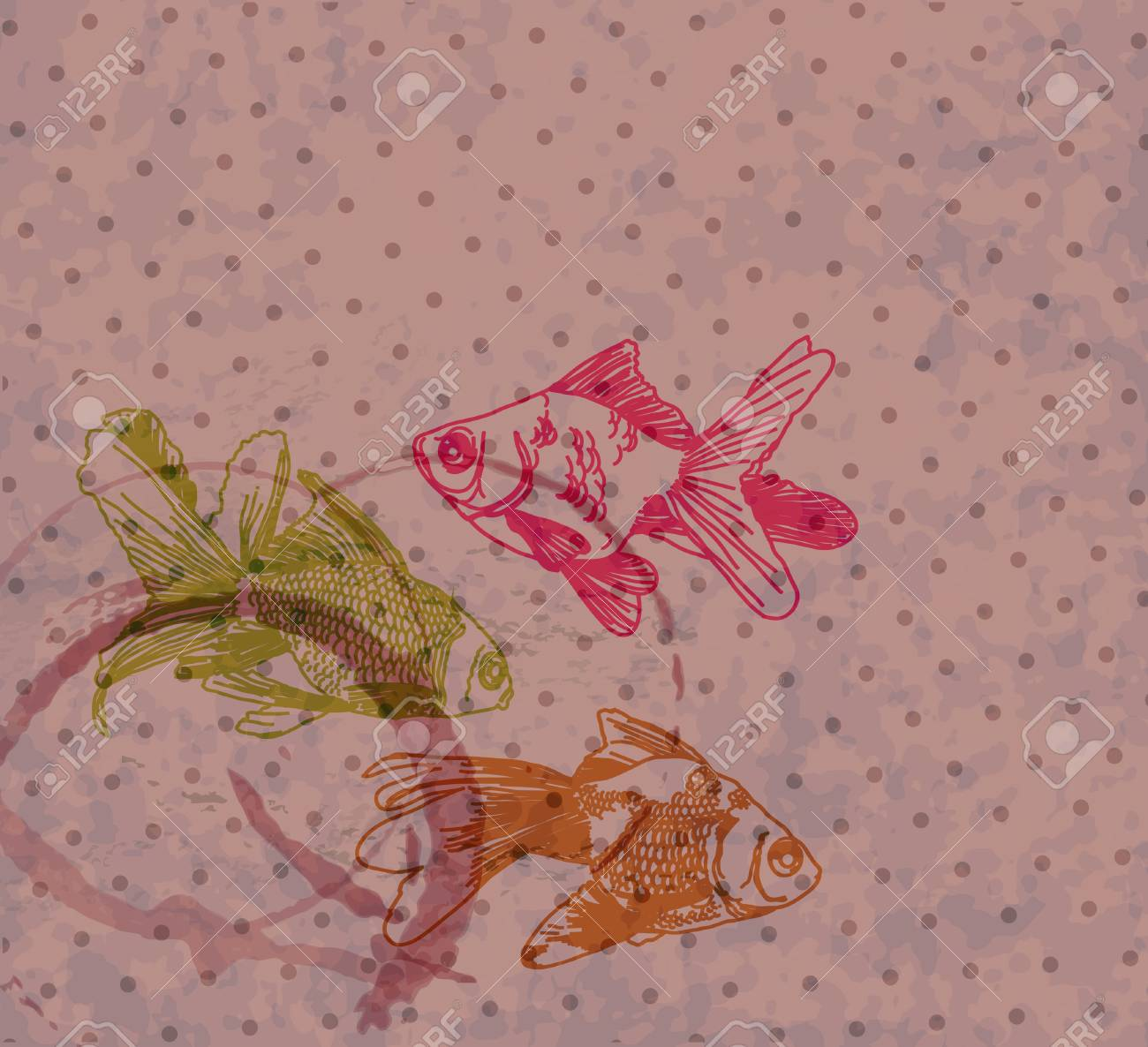 Grunge background with Hand drawing gold fishes, illustration Stock Vector - 13912030