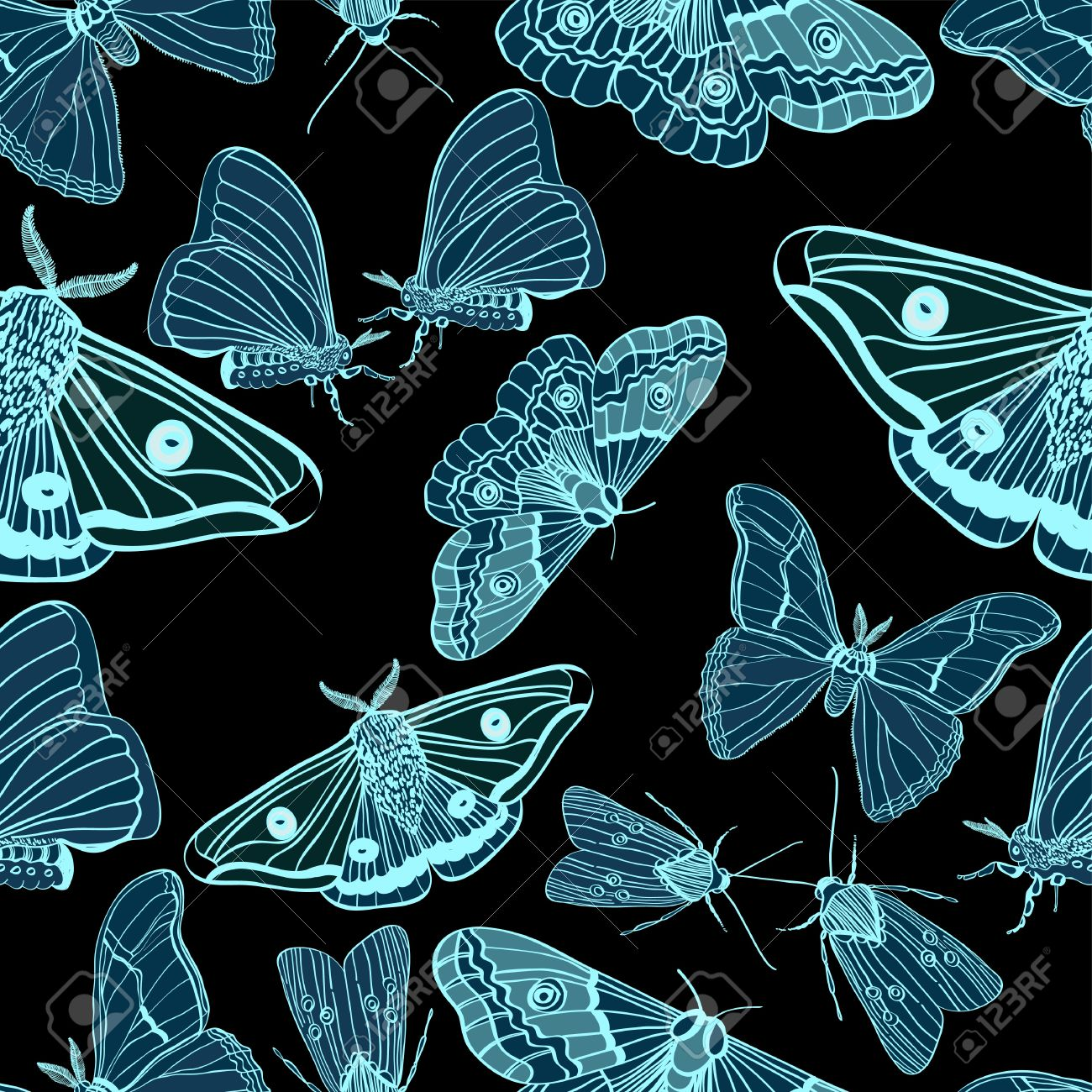 Seamless background with moth, black and blue, for design, illustration Stock Vector - 14049865