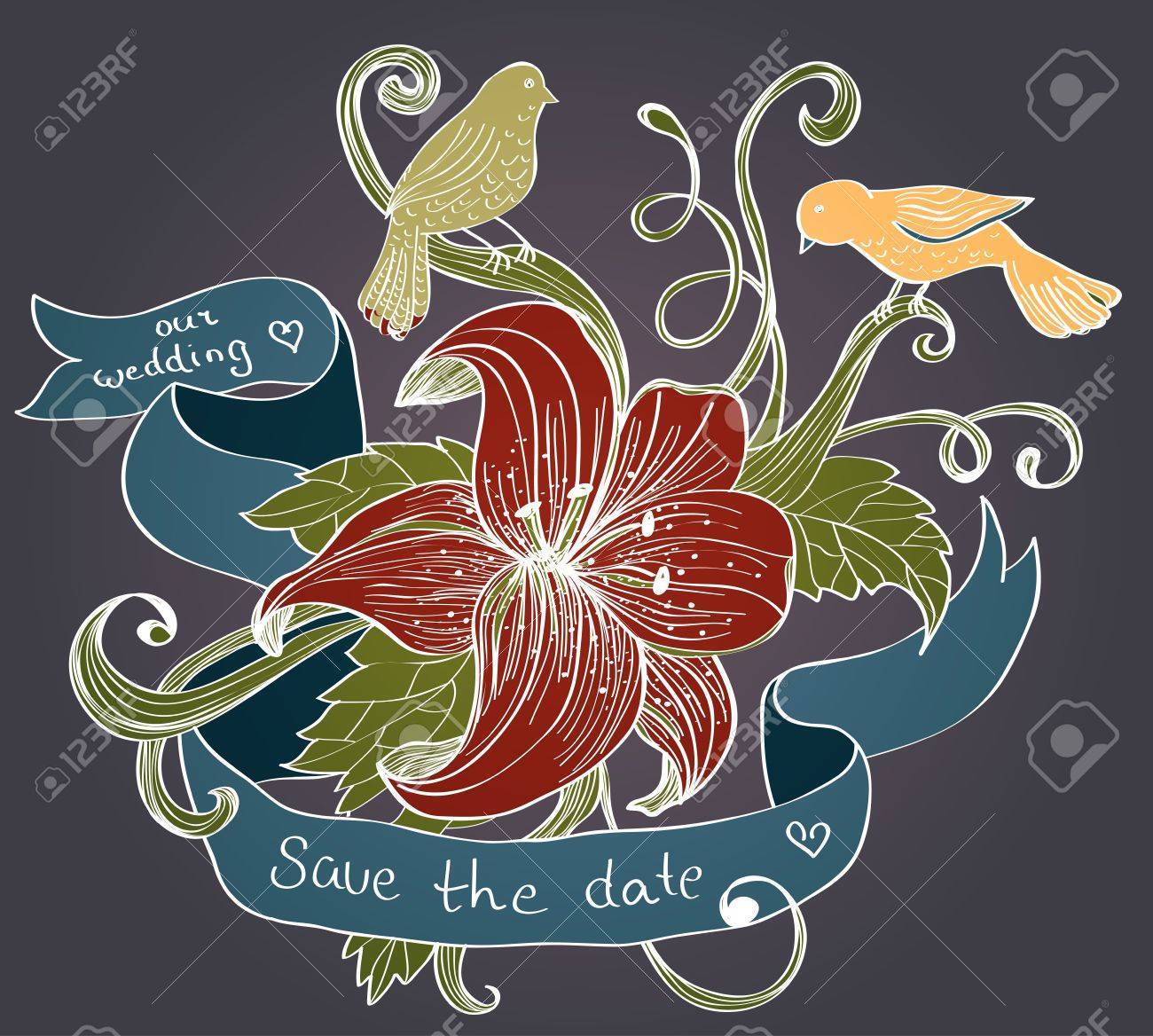 old fashion background with flower, birds and ribbon for design, illustration Stock Vector - 14049861