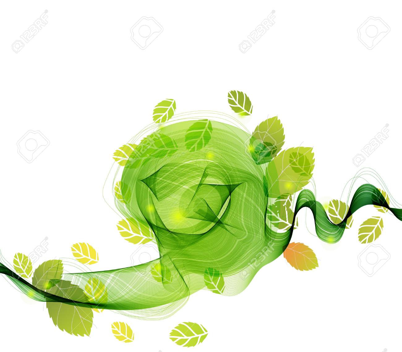 abstract background with fresh green leaves and wave, illustration for your design Stock Vector - 14095291