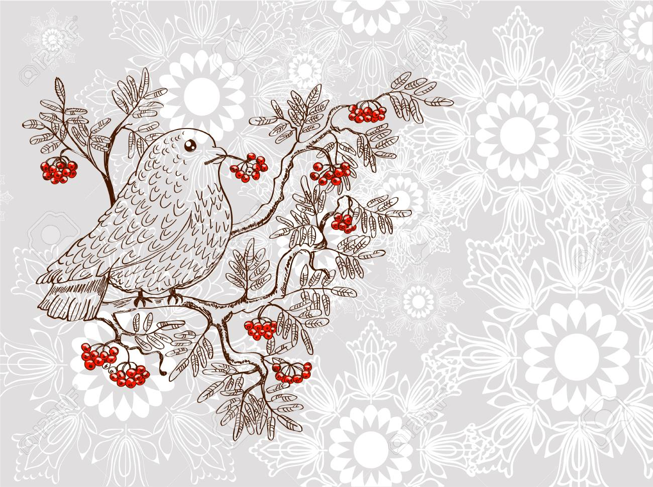 bullfinch and mountain ash background, beautiful  illustration Stock Vector - 15219682