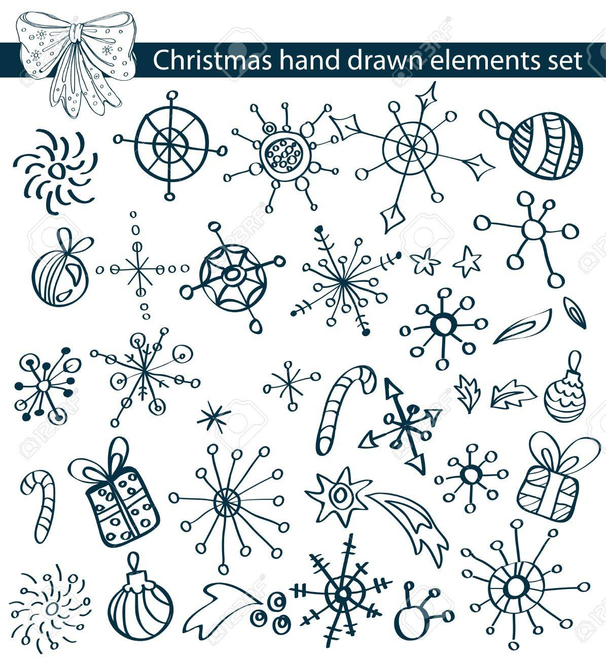 Christmas hand drawn elements collection for your design Stock Vector - 15501385