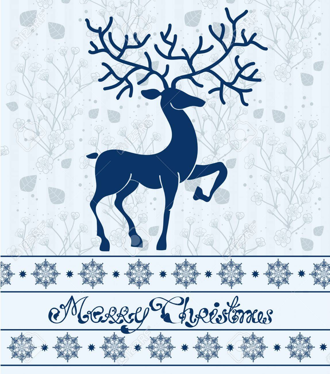 Christmas deer card with text  Merry Christmas, beautiful illustration Stock Vector - 15331310