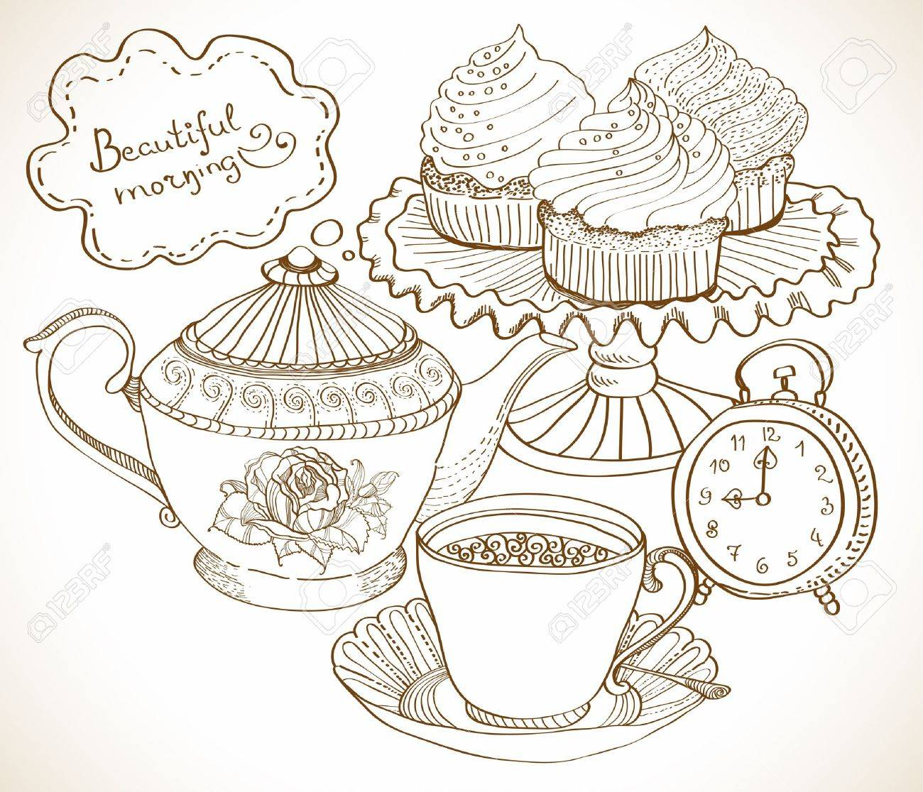 vintage tea background, hand drawn set for breakfast Stock Vector - 15683979