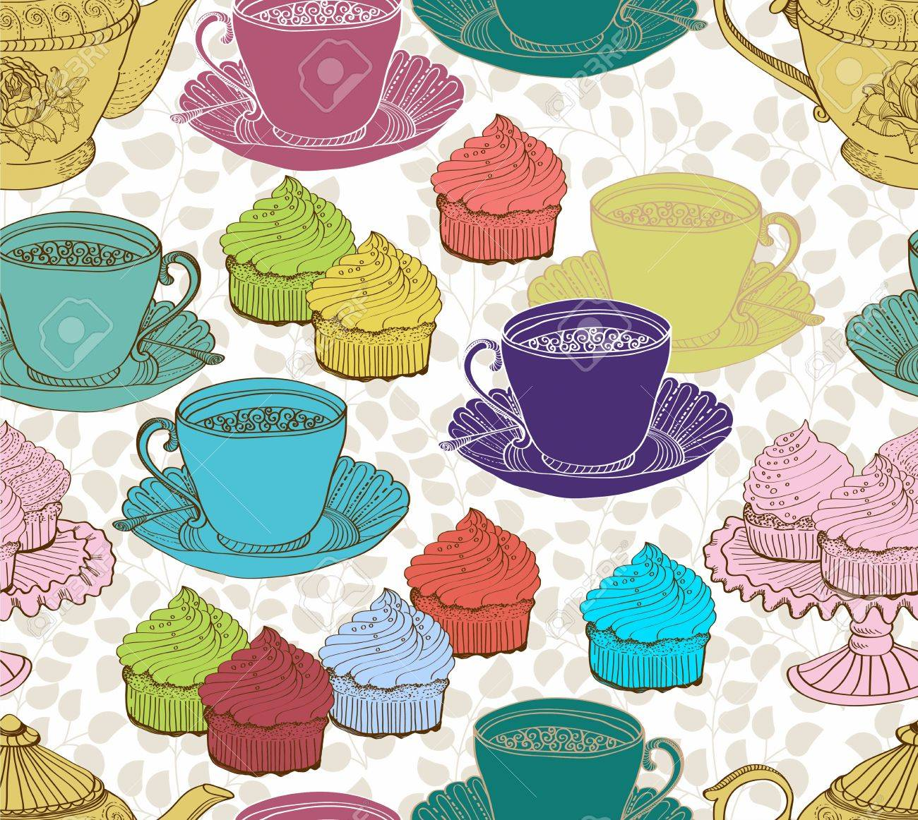 vintage tea background  seamless pattern for design Stock Vector - 15683986