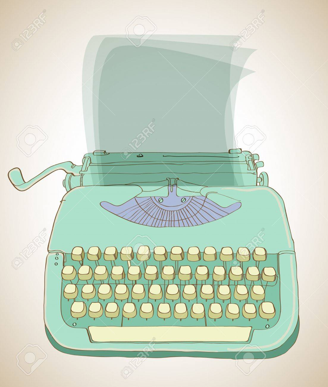 retro typewriter, vintage hand drawn background Stock Vector - 15732266