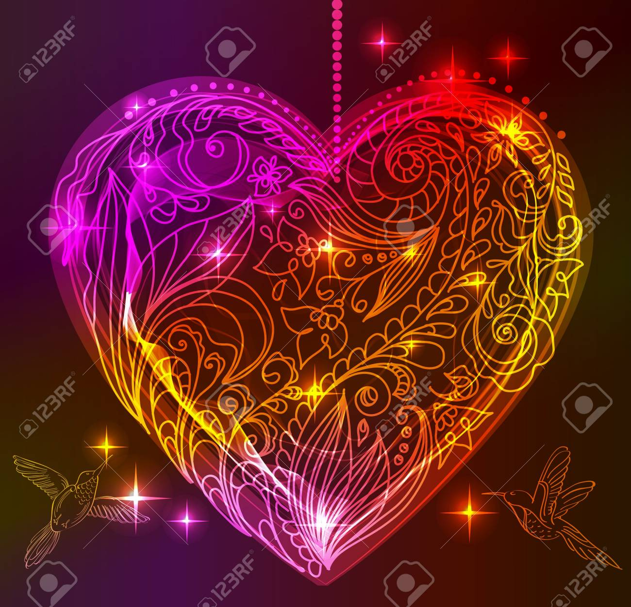 valentine card with floral heart and birds, illustration Stock Vector - 15732268
